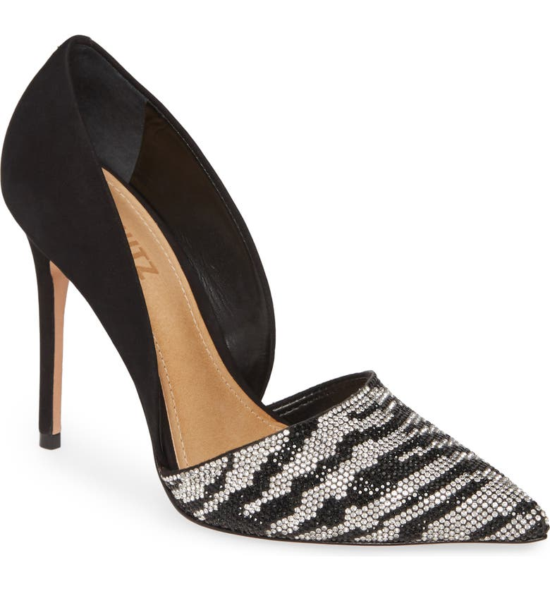 SCHUTZ Irina Crystal Zebra Stripe Pointed Toe Pump, Main, color, 001