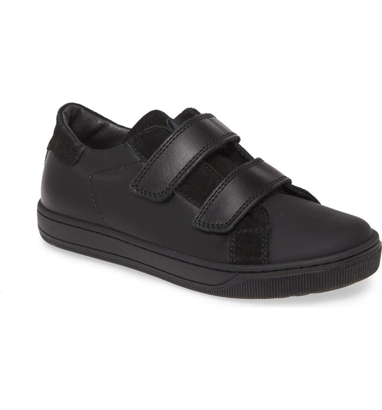 NATURINO Isaac Sneaker, Main, color, BLACK LEATHER/ RUBBER