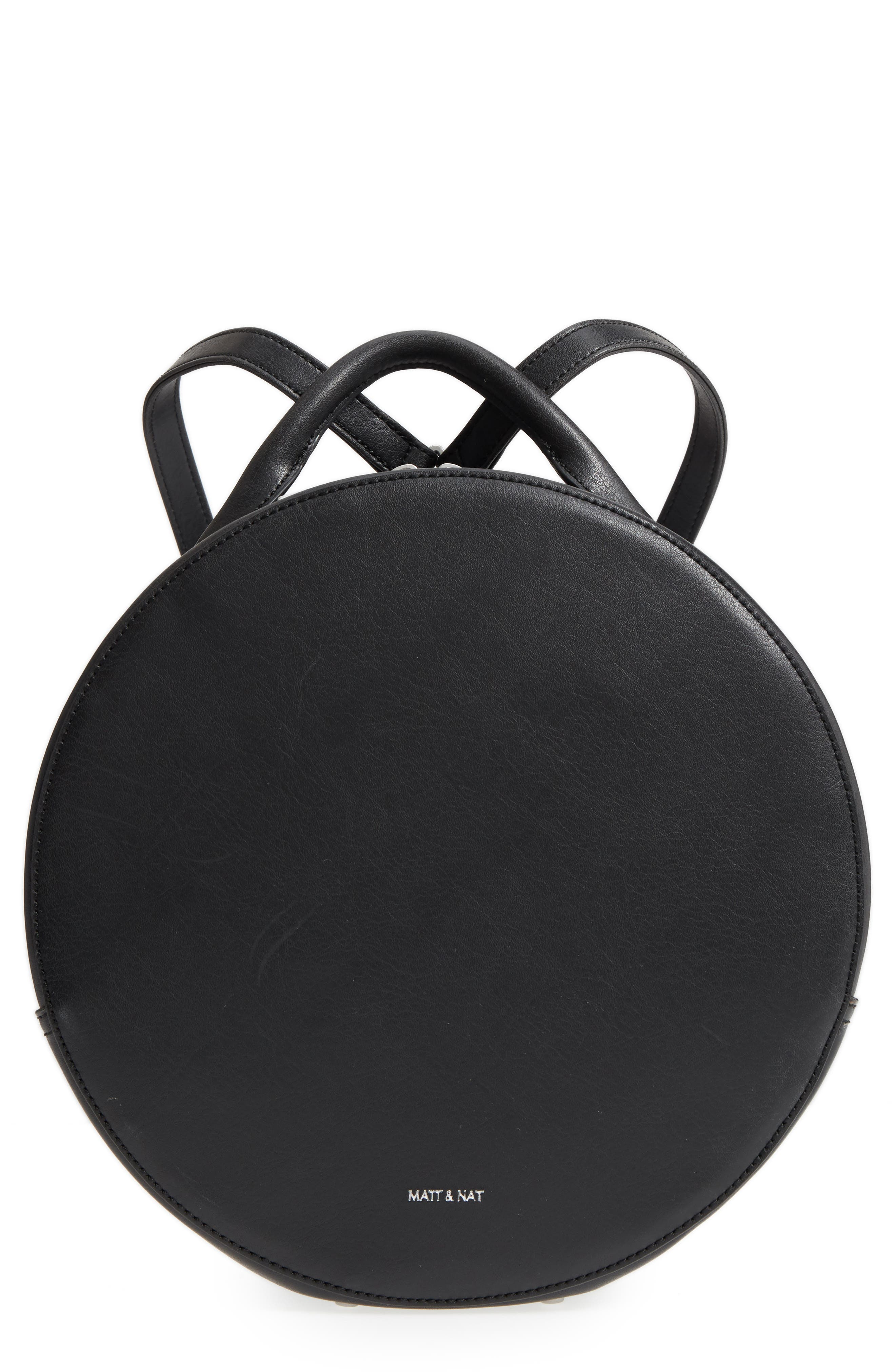 ,                             Kiara Faux Leather Circle Backpack,                             Main thumbnail 1, color,                             BLACK