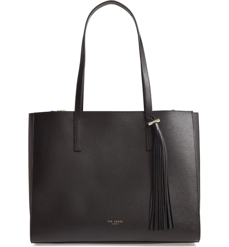 TED BAKER LONDON Large Narissa Leather Tote, Main, color, BLACK
