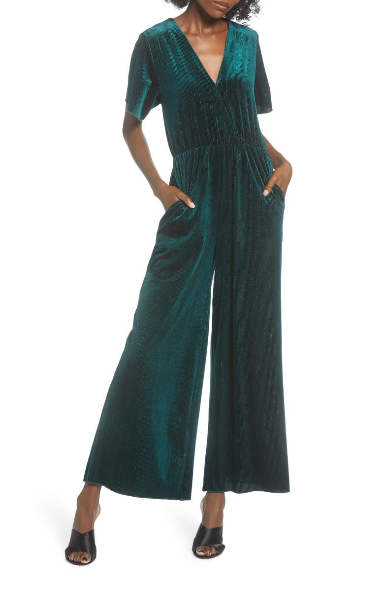 MINKPINK I'm With You Ribbed Velour Jumpsuit, Main, color, EMERALD