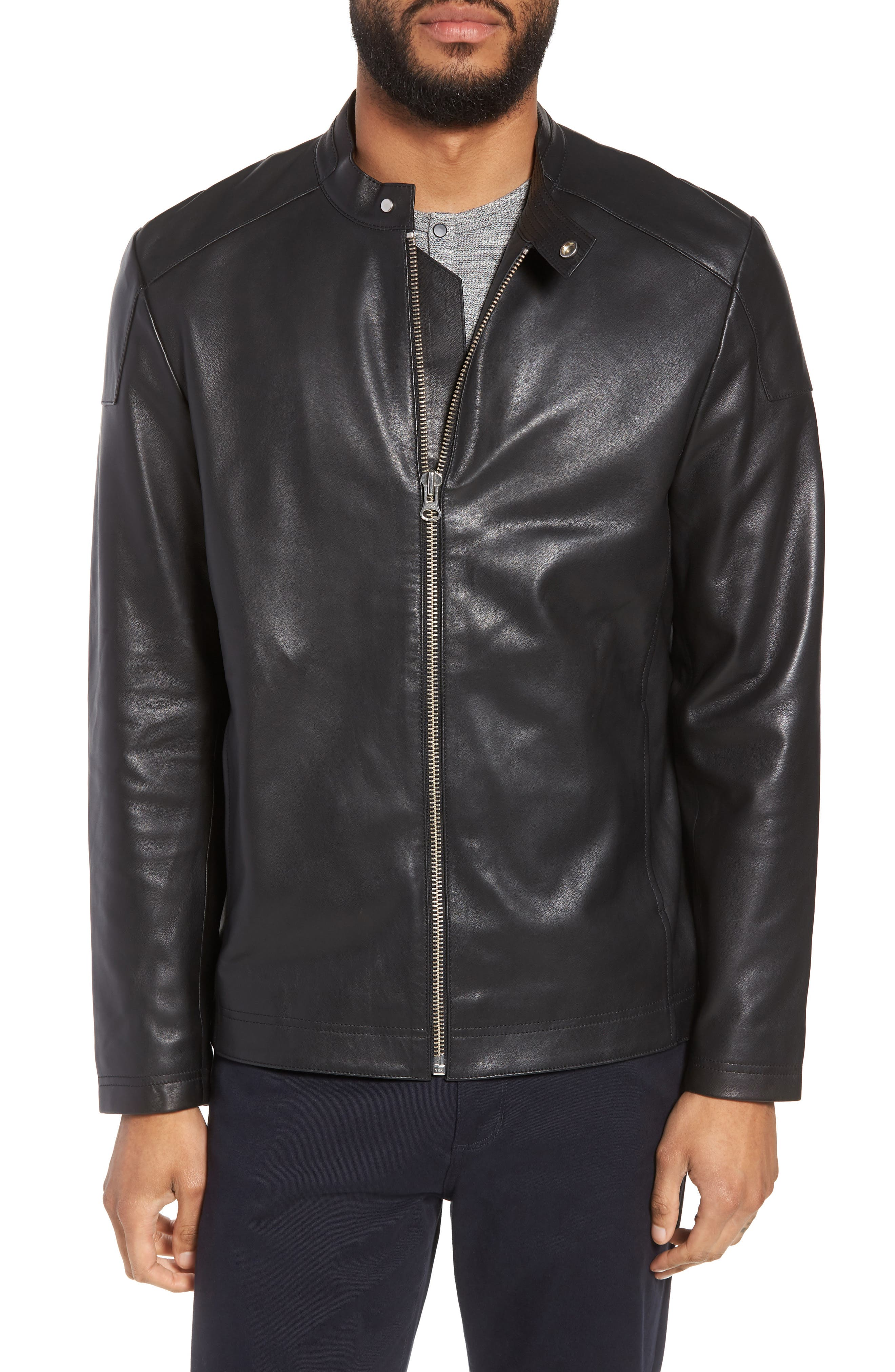 Image of CALIBRATE Leather Moto Jacket