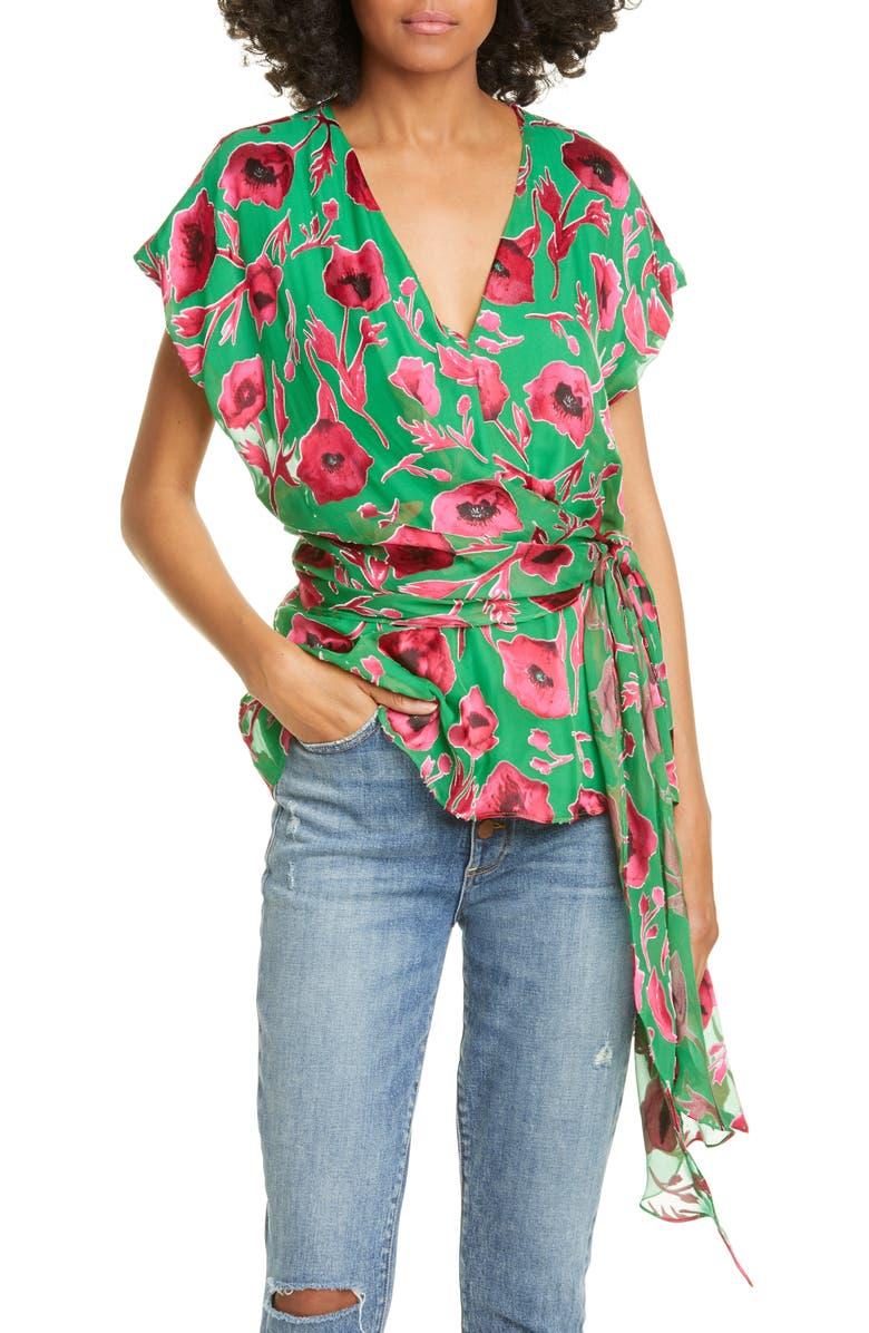 ALICE + OLIVIA Essie Plunge Silk Blend Burnout Tie Top, Main, color, POPPY GARDEN EMERALD