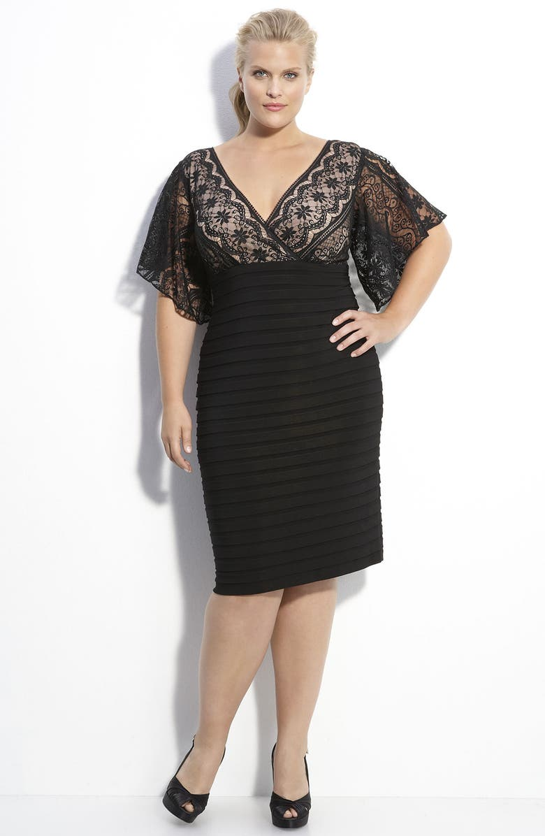 ADRIANNA PAPELL Lace & Knit Dress, Main, color, 001