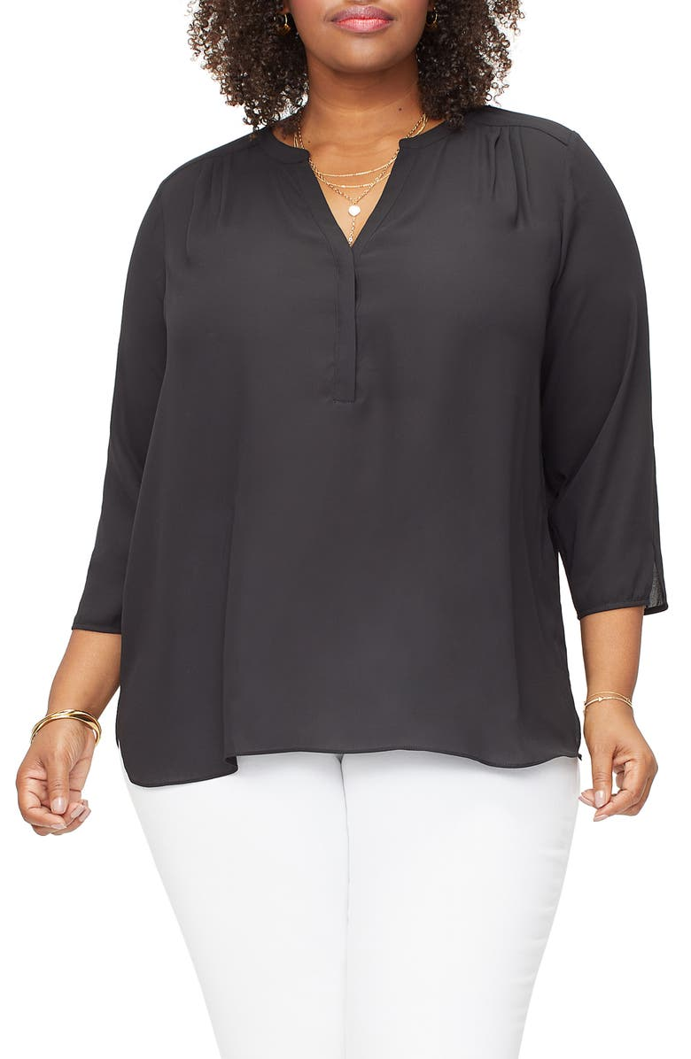 CURVES 360 BY NYDJ Perfect Blouse, Main, color, BLACK