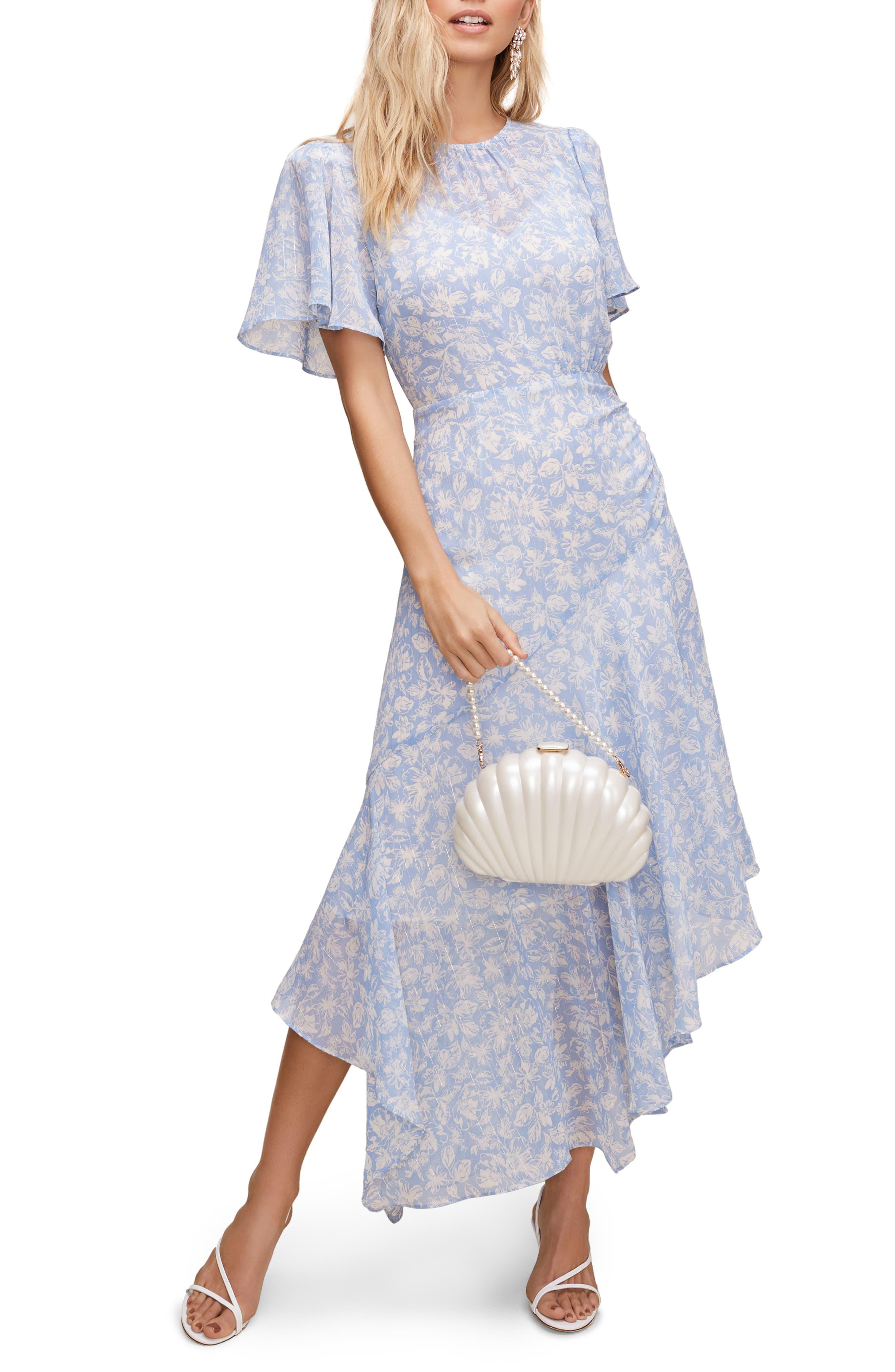 1920s Day Dresses, Tea Dresses, Mature Dresses with Sleeves Womens Astr The Label Floral Print Dress Size X-Large - Blue $53.40 AT vintagedancer.com