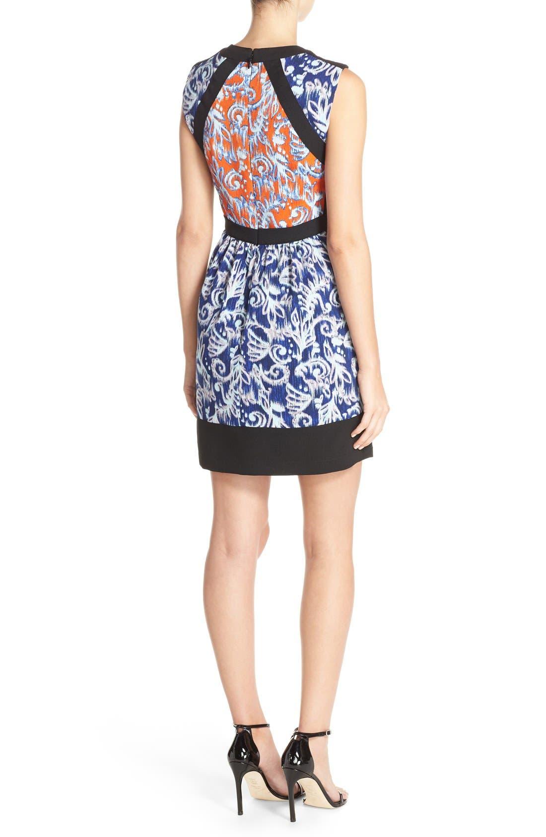 ,                             'Donatella' Banded Crepe Fit & Flare Dress,                             Alternate thumbnail 4, color,                             806