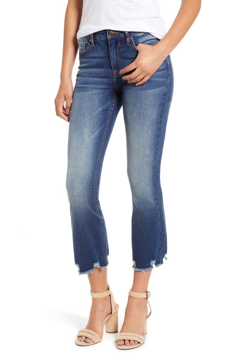 VIGOSS Gwen Distressed Hem Crop Flare Jeans, Main, color, DARK WASH