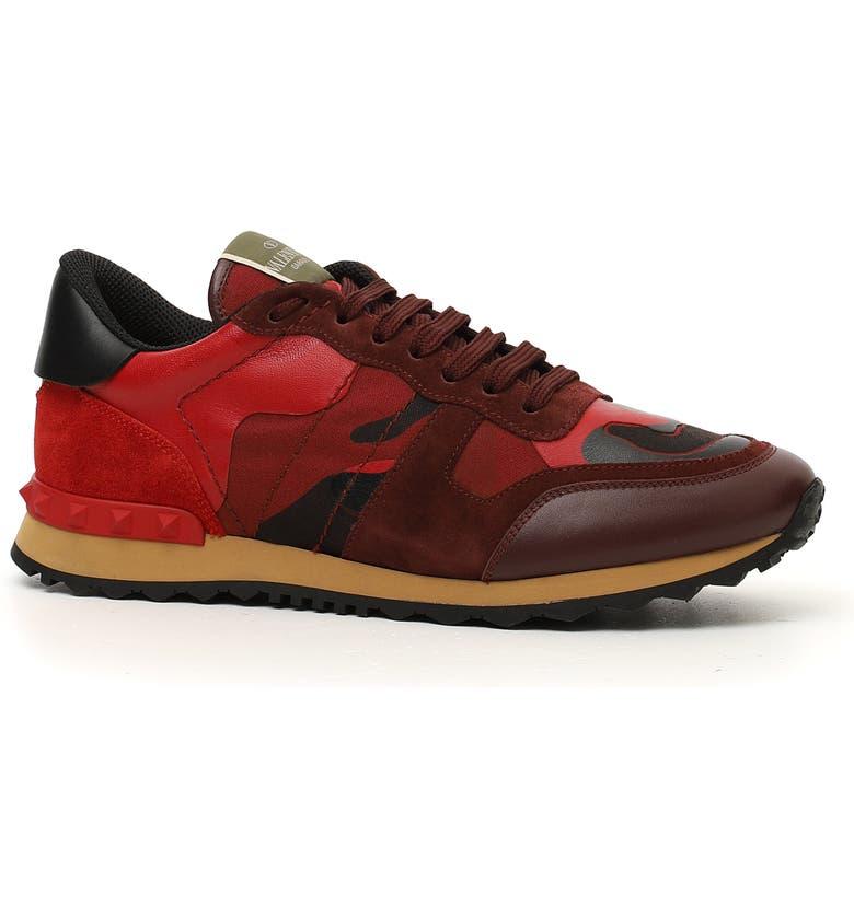 VALENTINO Garavani Camo Rockrunner Sneaker, Main, color, RUBINO