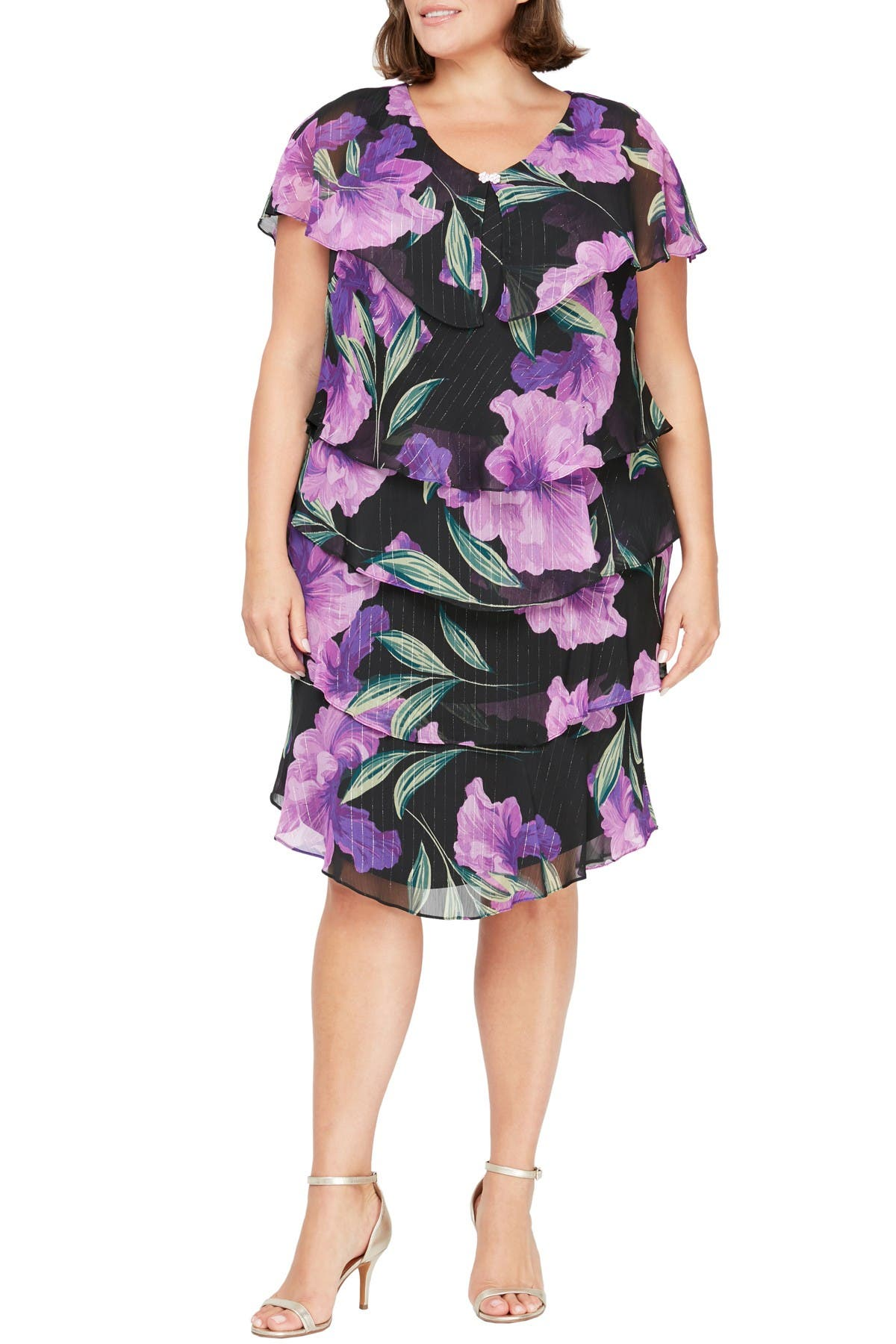 Image of SLNY Floral Tiered Dress