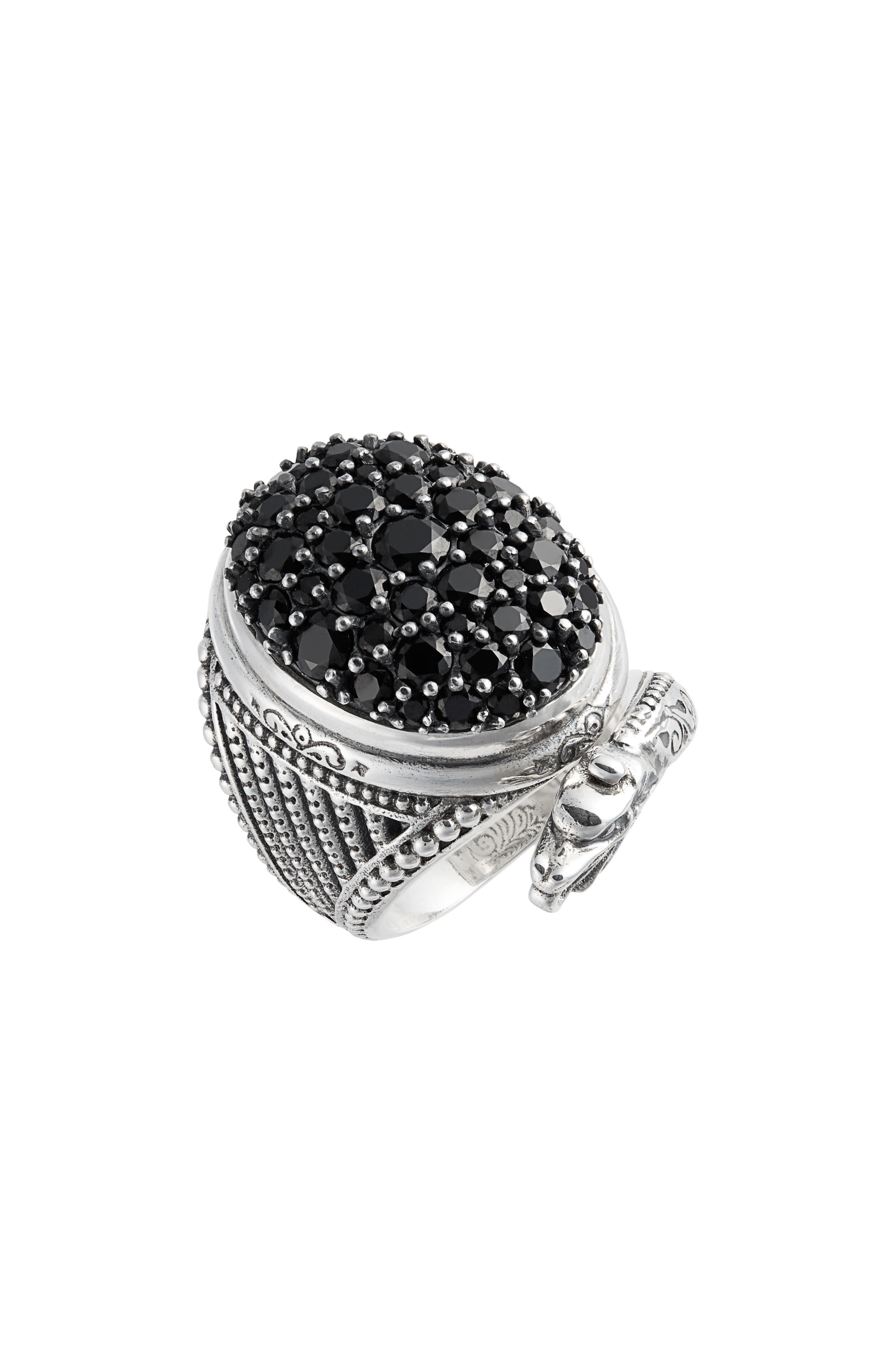 An intricately carved serpent slithers around the glistening spinel-paved center of a statement-making sterling-silver ring handcrafted in Greece. Style Name: Konstantino Circe Black Spinel Snake Ring. Style Number: 5745024. Available in stores.