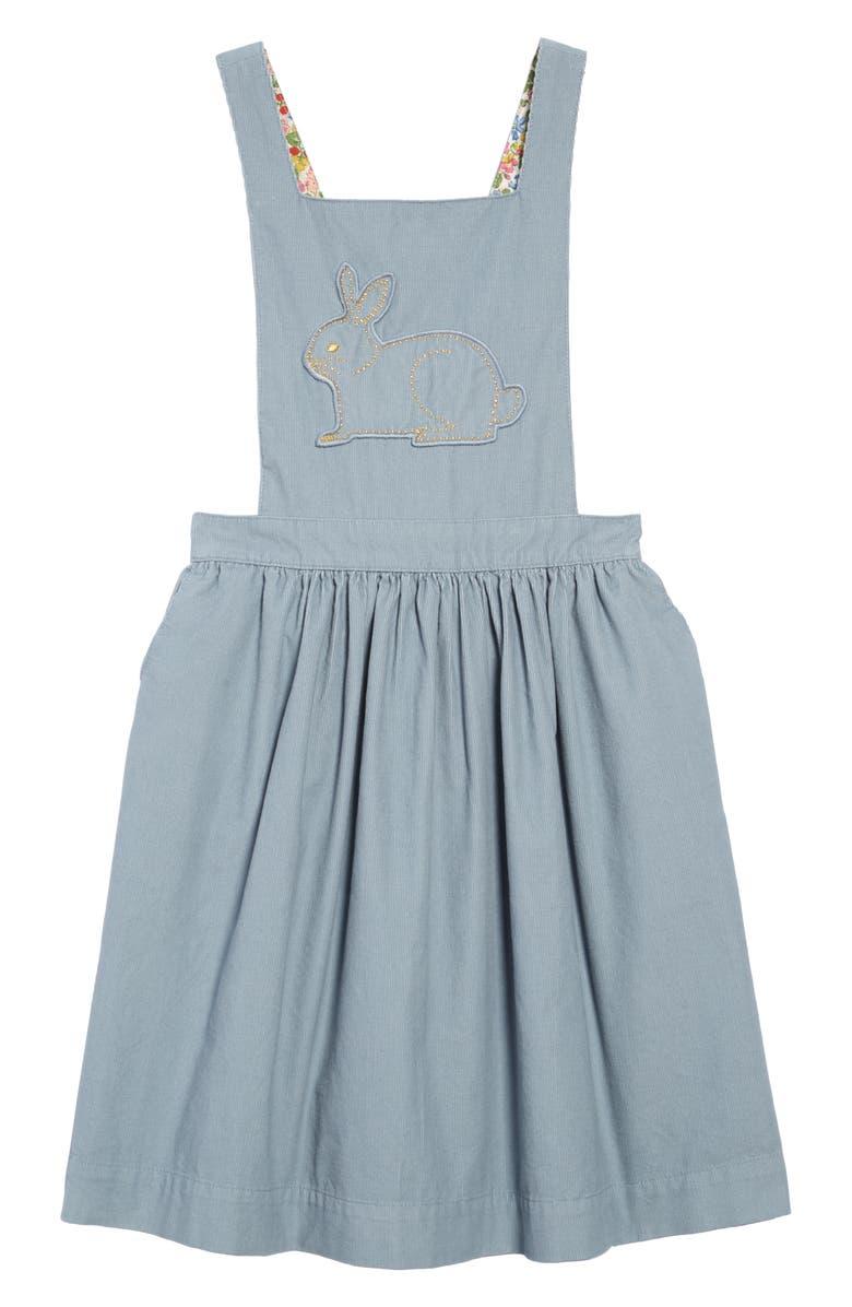 MINI BODEN Pretty Pinafore Dress, Main, color, BREEZE BLUE/ BUNNY