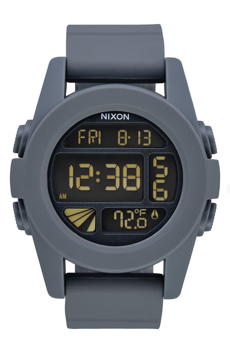 NIXON Unit Digital Silicone Strap Watch, 44mm, Main, color, 020