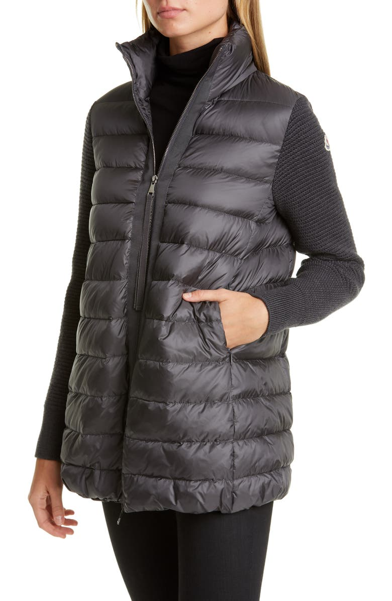 MONCLER Quilted Down & Wool Long Cardigan, Main, color, GREY