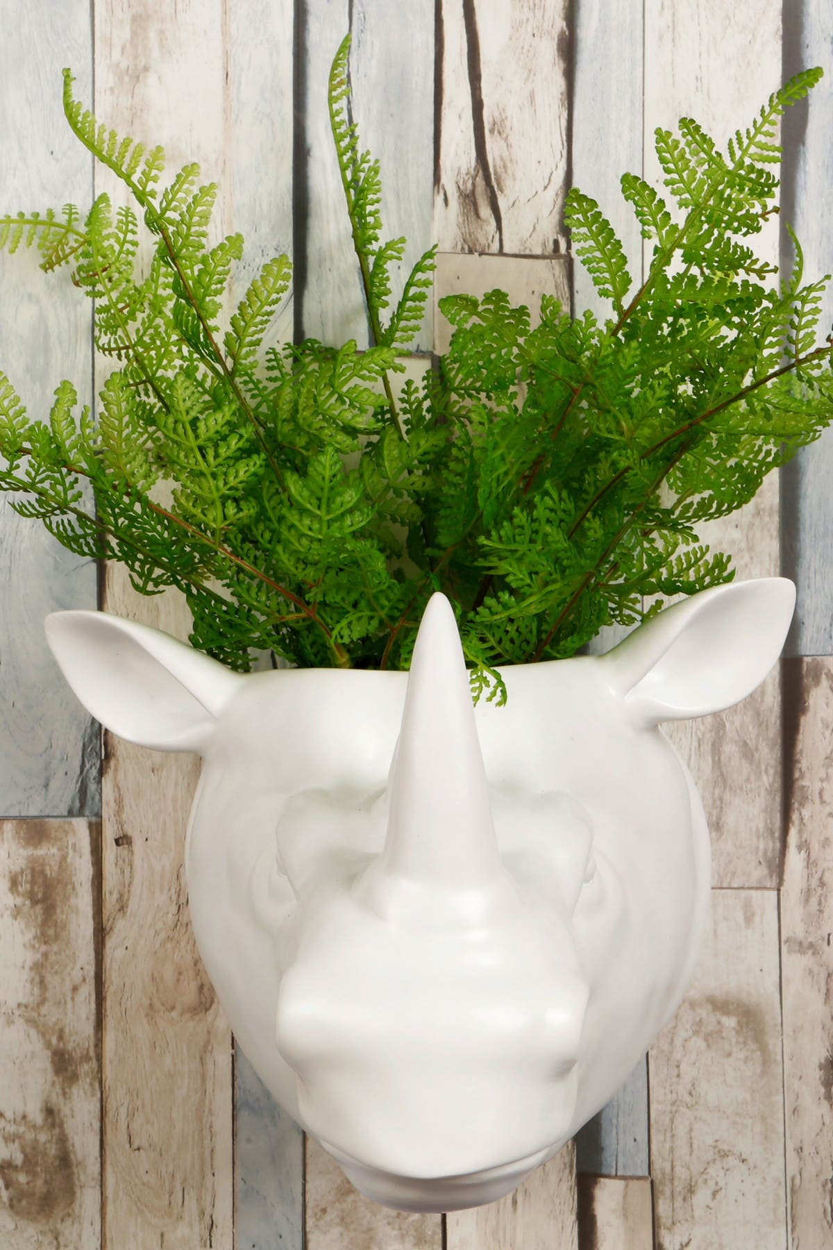 Image of WalPlus 2-in-1 White Faux Taxidermy White Rhino Pot Wall Art