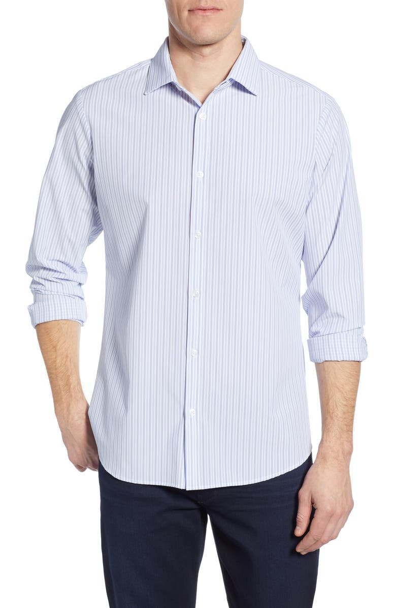 Hodges Trim Fit Stripe Performance Sport Shirt by Mizzen+Main