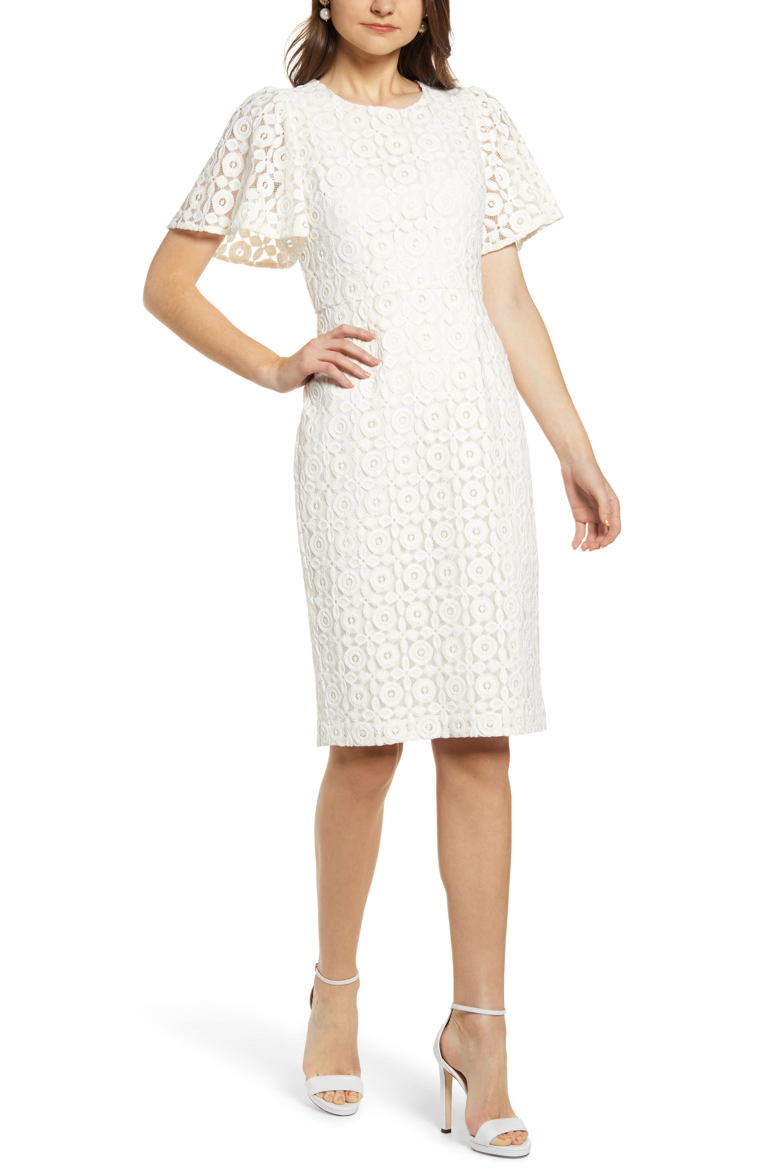 Rachel Parcell Flutter Sleeve Lace Sheath Dress, Ivory (Nordstrom Exclusive)