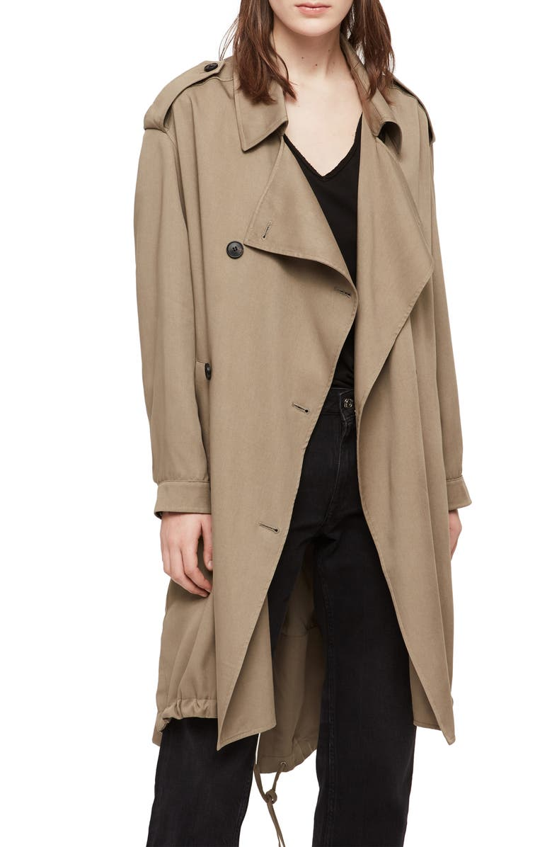 ALLSAINTS Lia Mac Trench Coat, Main, color, SAGE GREEN