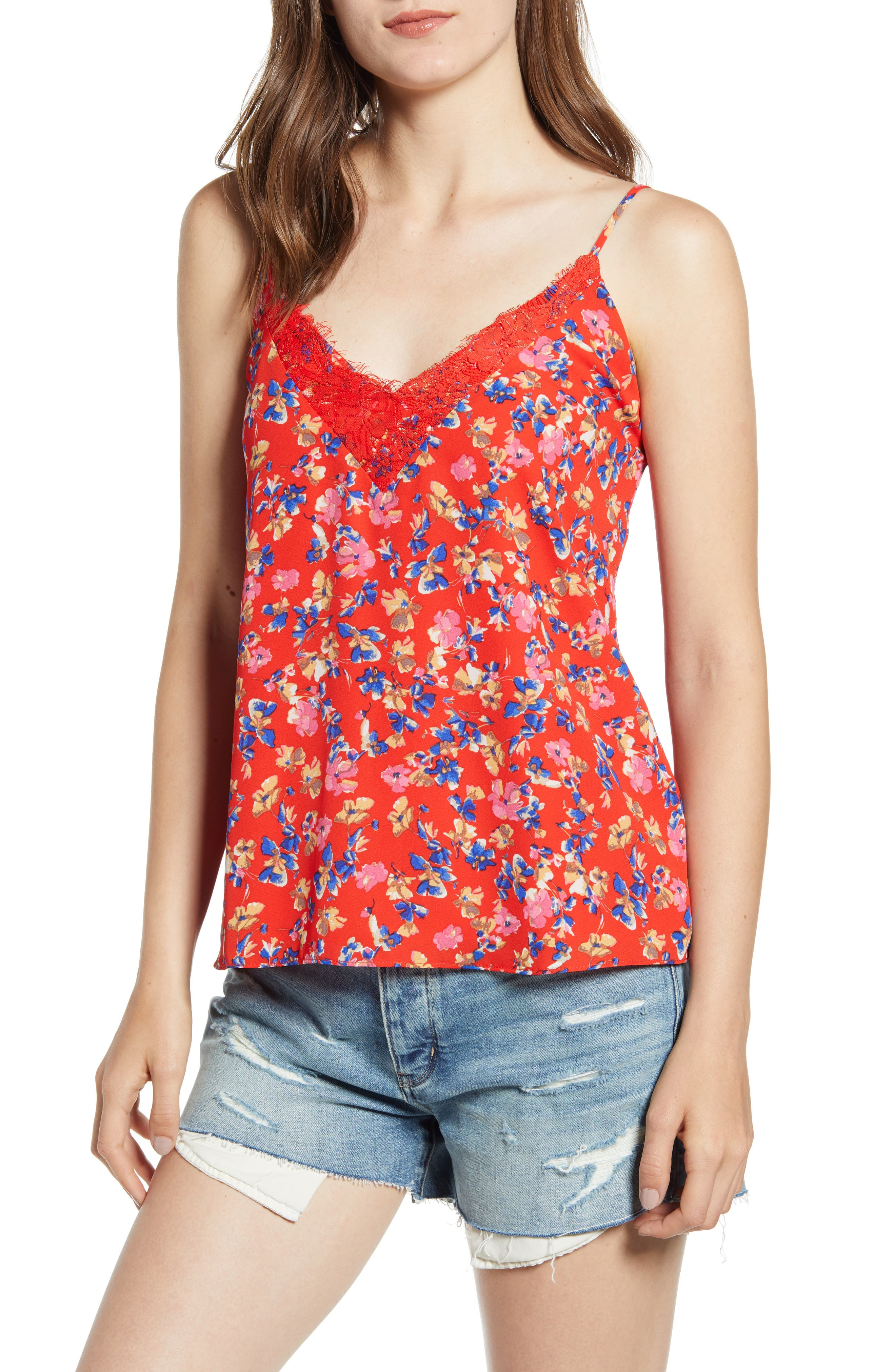Socialite Lace Trim Camisole Top, Red