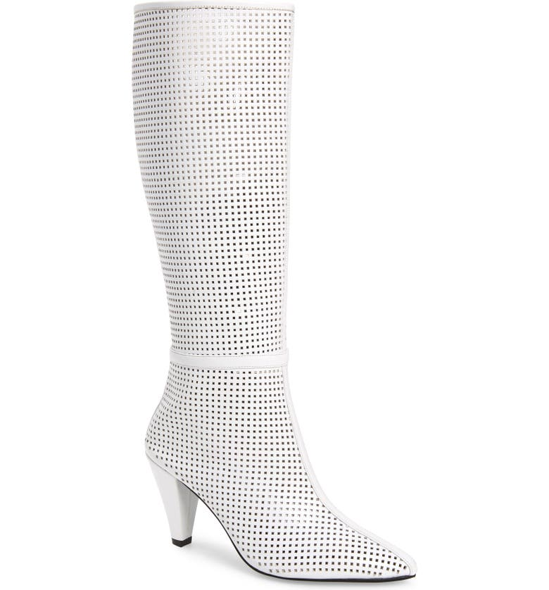 JEFFREY CAMPBELL Candle Knee High Boot, Main, color, WHITE LEATHER