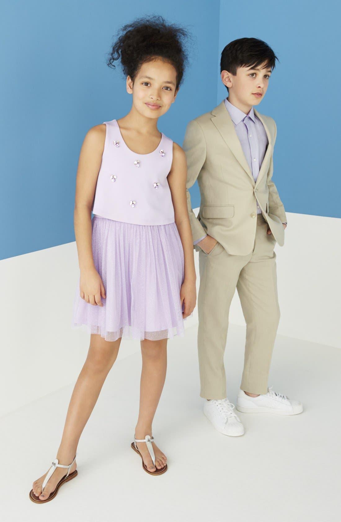 ,                             'Kirton' Flat Front Linen Blend Trousers,                             Alternate thumbnail 4, color,                             TAN