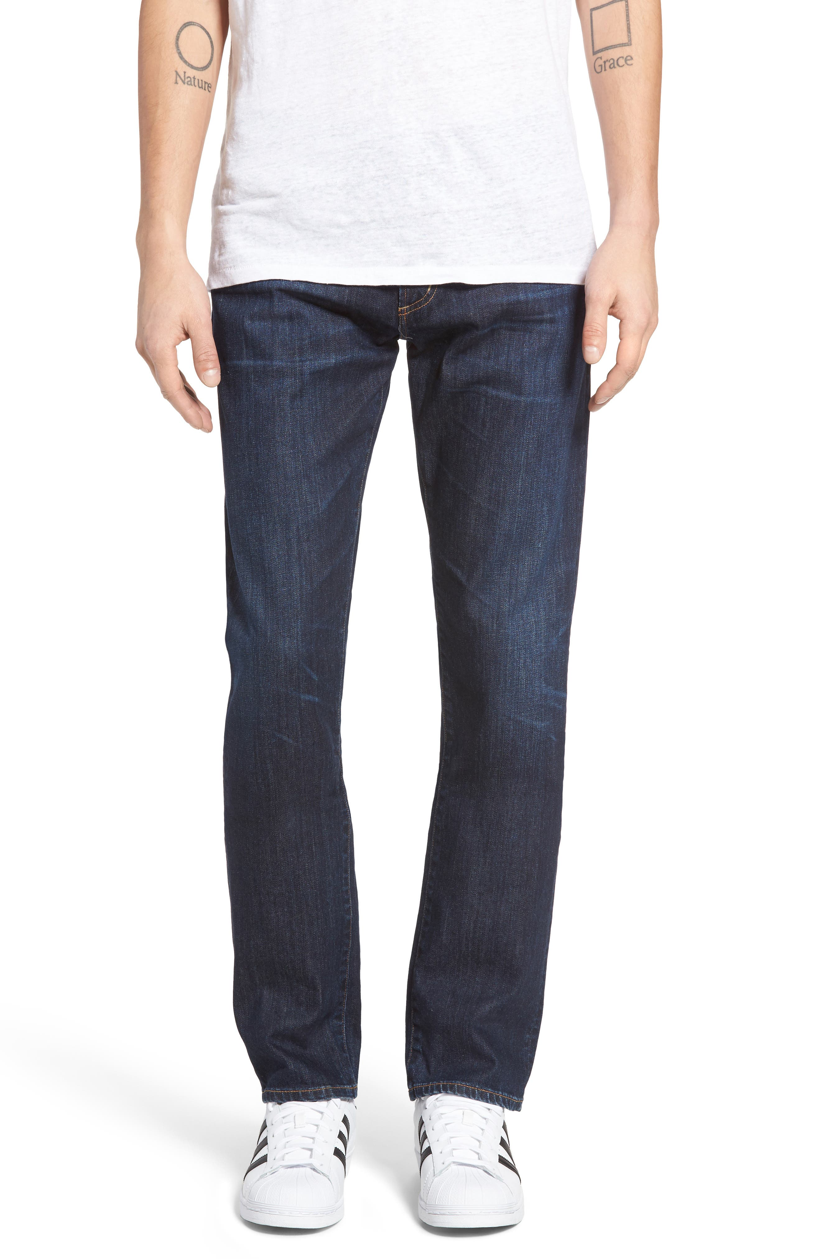 Bowery Slim Fit Jeans, Main, color, EMERY