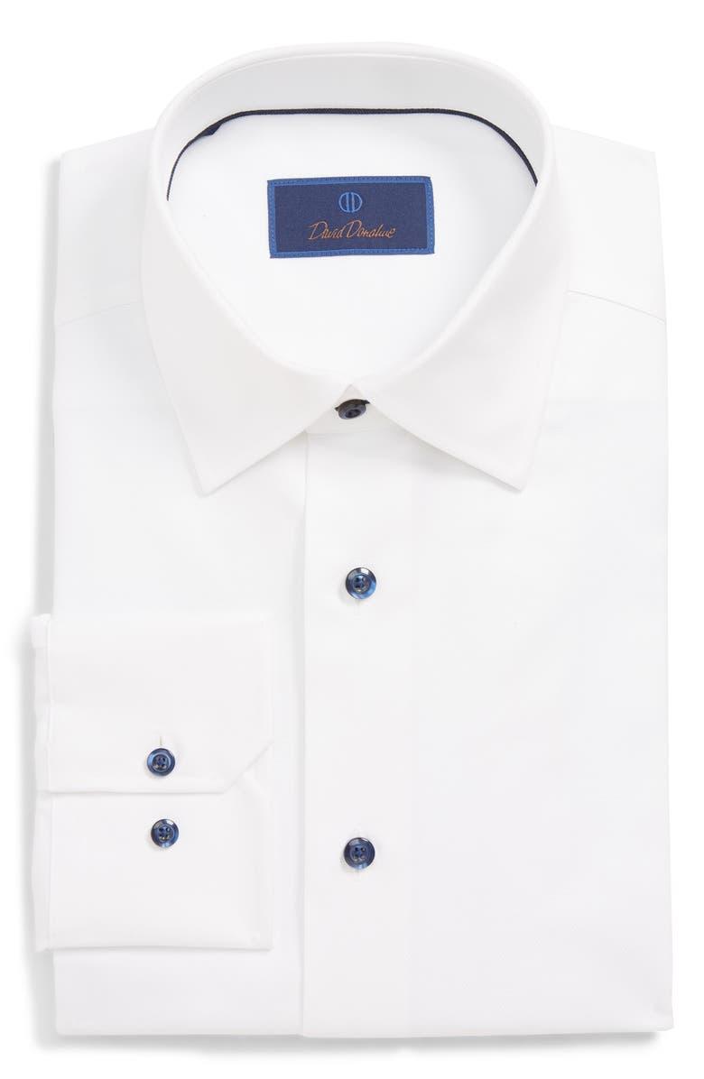 DAVID DONAHUE Regular Fit Dress Shirt, Main, color, WHITE
