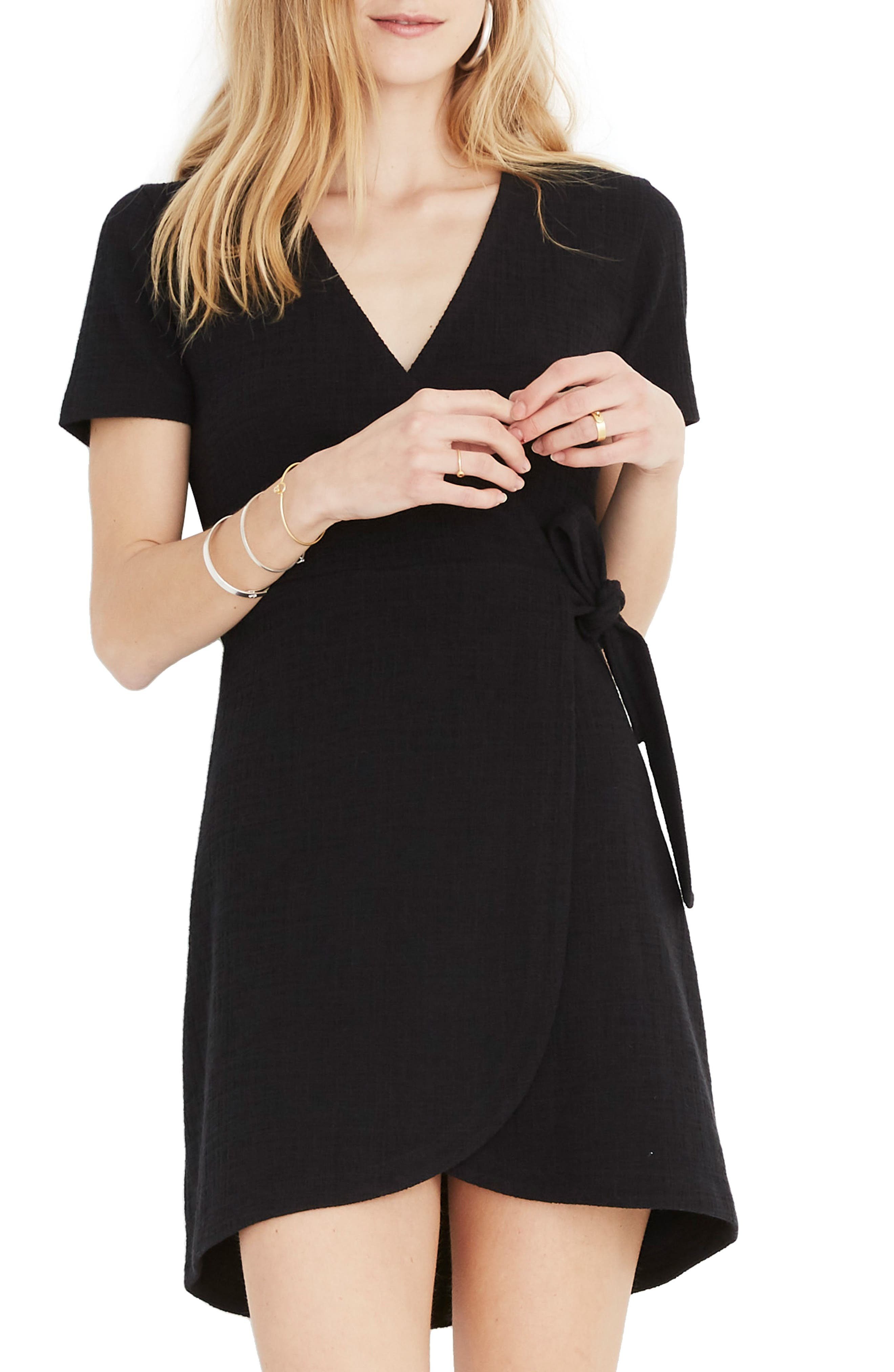 ,                             Texture & Thread Short Sleeve Side Tie Dress,                             Main thumbnail 1, color,                             TRUE BLACK