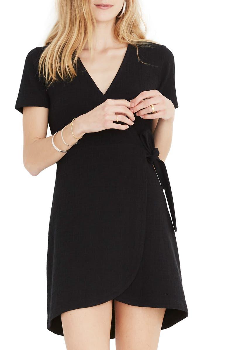 MADEWELL Texture & Thread Short Sleeve Side Tie Dress, Main, color, 001
