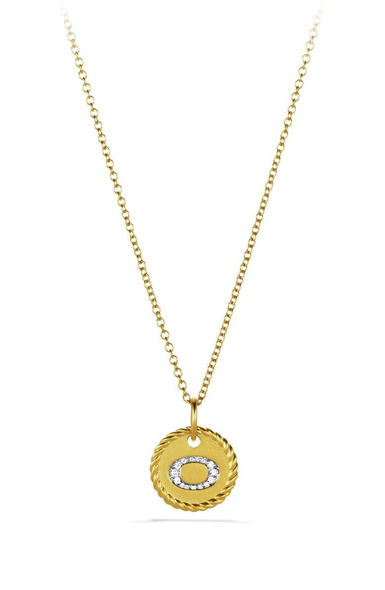 DAVID YURMAN 'Cable Collectibles' Initial Pendant with Diamonds in Gold on Chain, Main, color, B