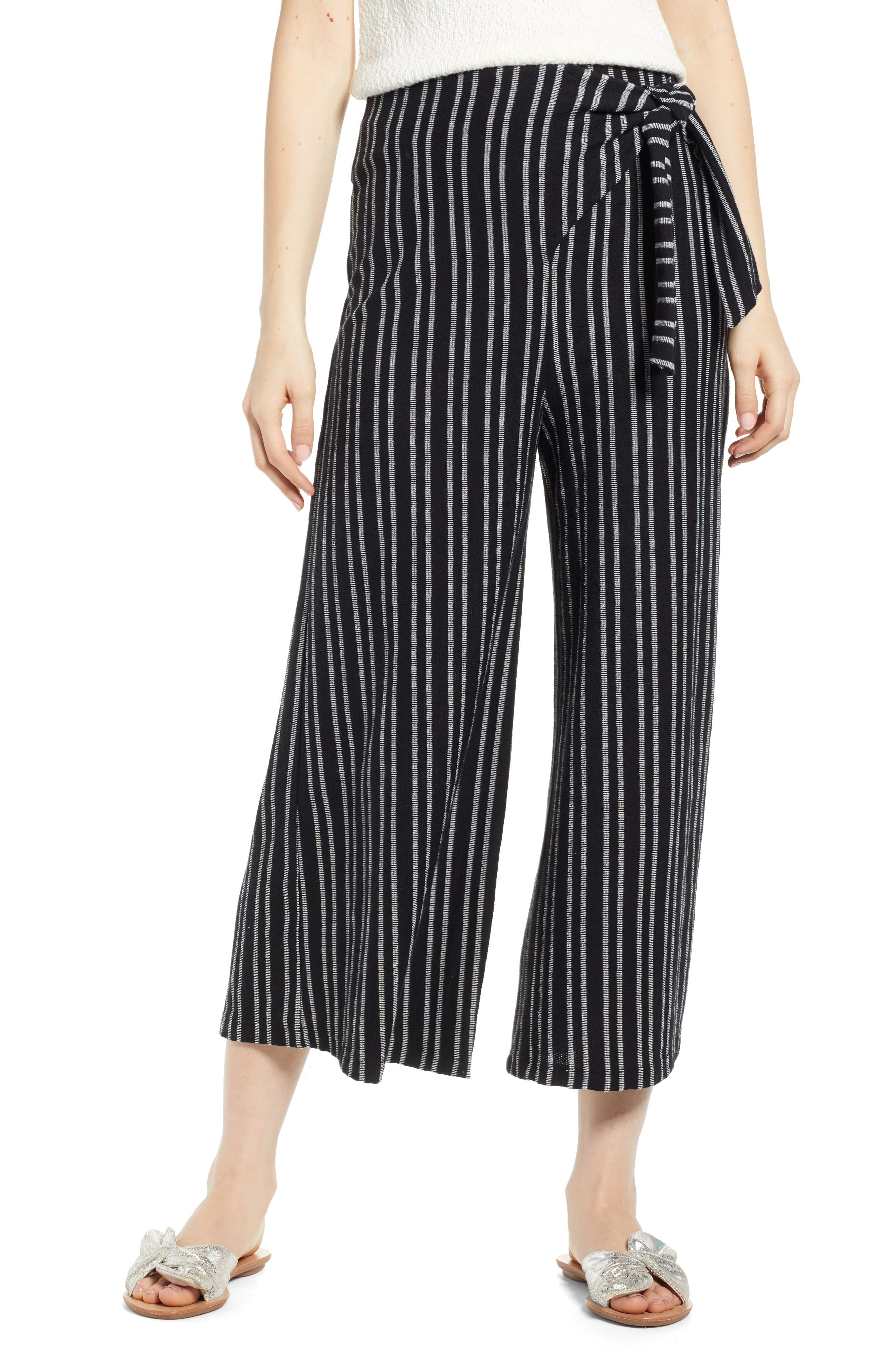 ,                             Tie Waist Stripe Wide Leg Crop Pants,                             Main thumbnail 1, color,                             BLACK WHITE STRIPE