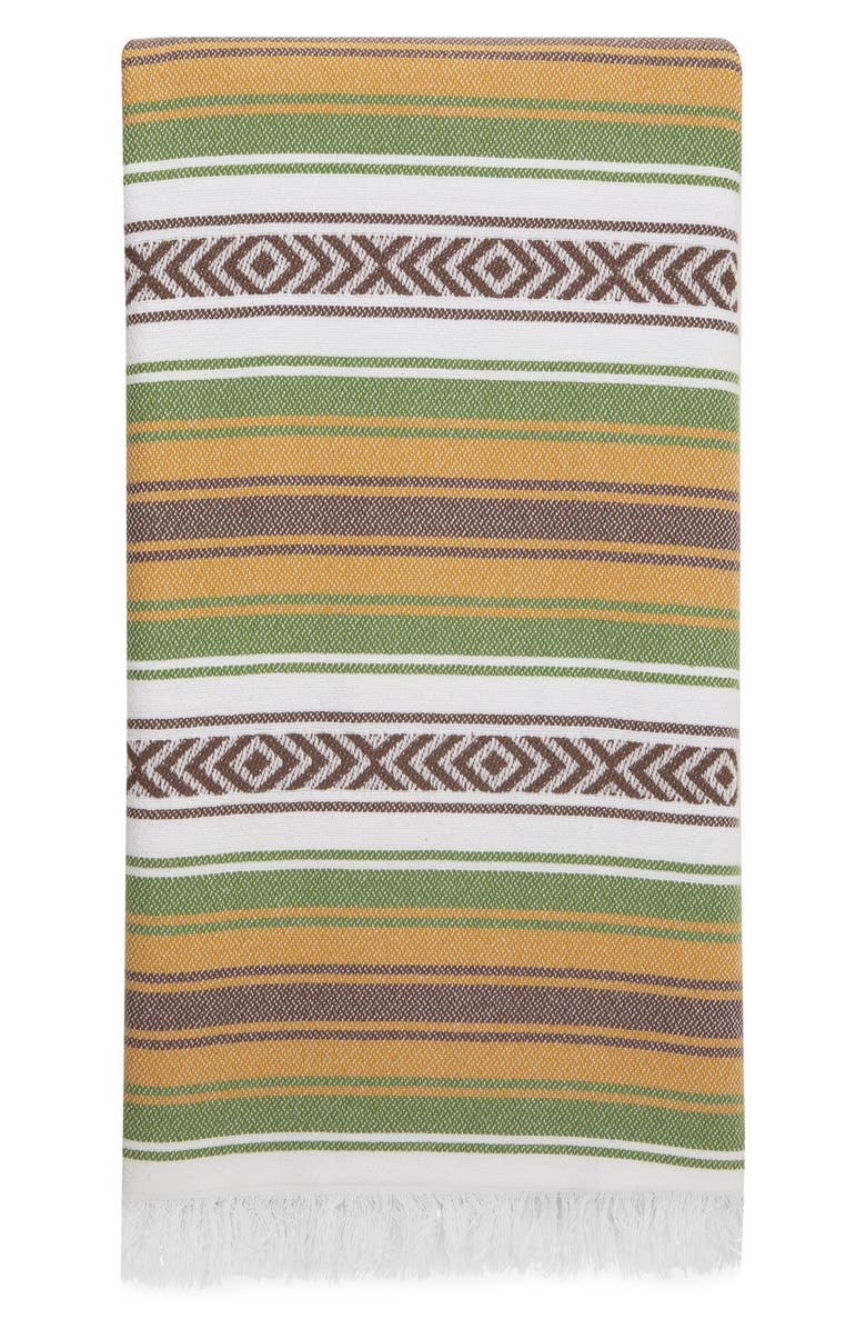 MEDITERIEN DEEP Escape Hand Loomed Cotton Towel, Main, color, GREEN