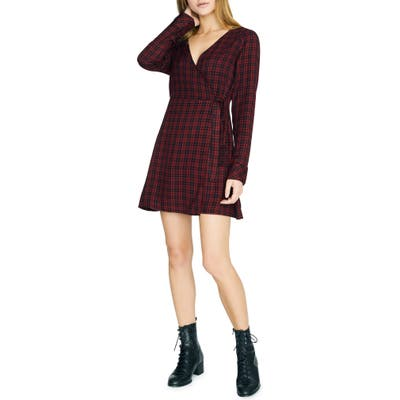Sancturay Upbeat Plaid Long Sleeve Wrap Dress, Red