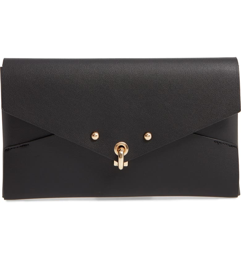 SONDRA ROBERTS Origami Faux Leather Clutch, Main, color, BLACK