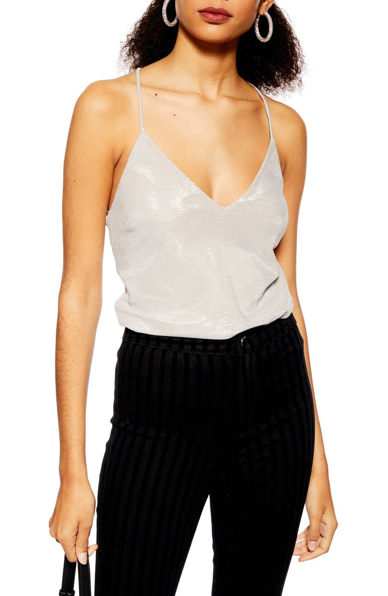 TOPSHOP Chainmail Tie Camisole, Main, color, SILVER