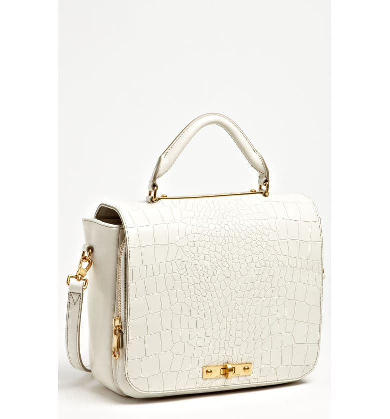 MARC JACOBS MARC BY MARC JACOBS 'Goodbye Columbus' Croc Embossed Leather Satchel, Main, color, WHITE BIRCH