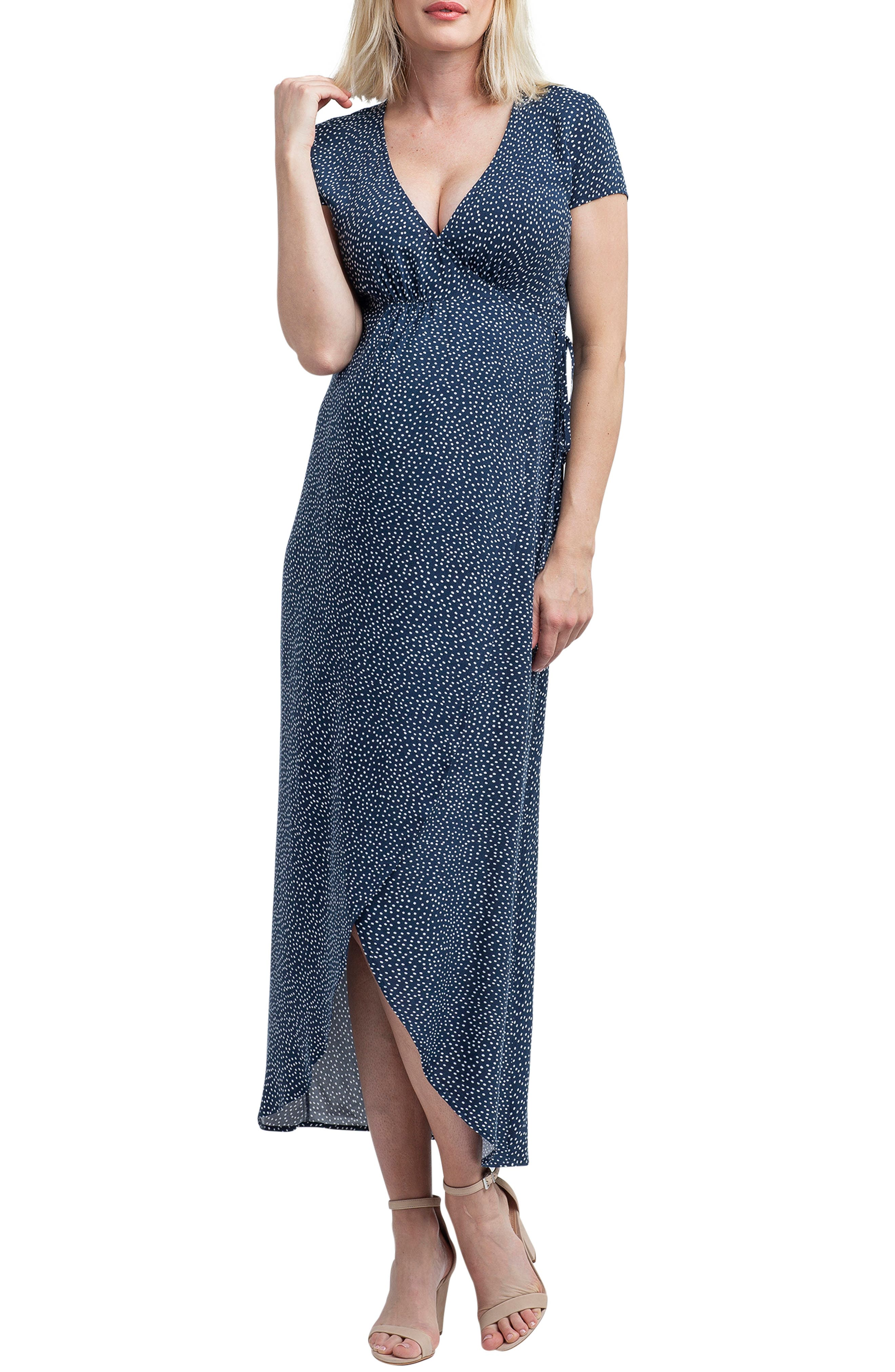Nom Maternity Delilah Maxi Wrap Maternity/nursing Dress, Blue