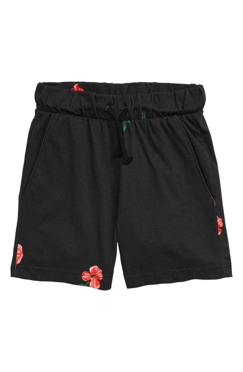 SOMETIME SOON Lenox Floral Organic Cotton Shorts, Main, color, BLACK