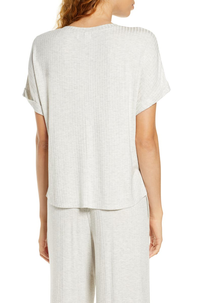 SOCIALITE Tie Front V-Neck Tee, Main, color, LIGHT H. GREY