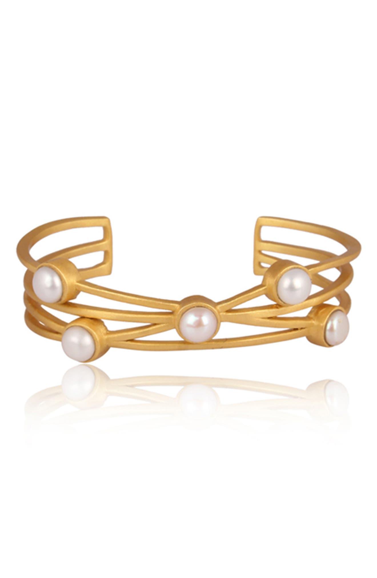 Cultured Pearl Cuff Bracelet