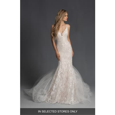 Hayley Paige Zazu Embroidered Mermaid Wedding Dress With Tulle Train, Size IN STORE ONLY - Ivory