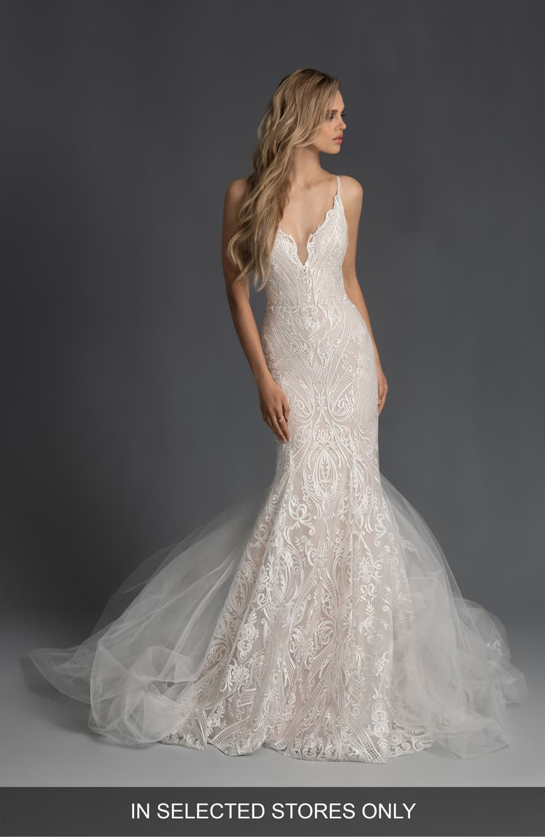 HAYLEY PAIGE Zazu Embroidered Mermaid Wedding Dress with Tulle Train, Main, color, IVORY