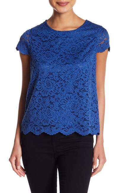 Image of Philosophy Apparel Cap Sleeve Lace Top