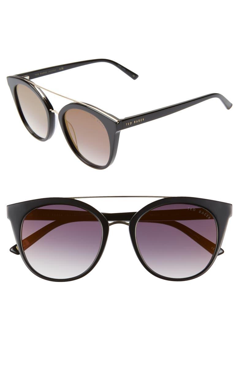 TED BAKER LONDON 53mm Cat Eye Sunglasses, Main, color, BLACK