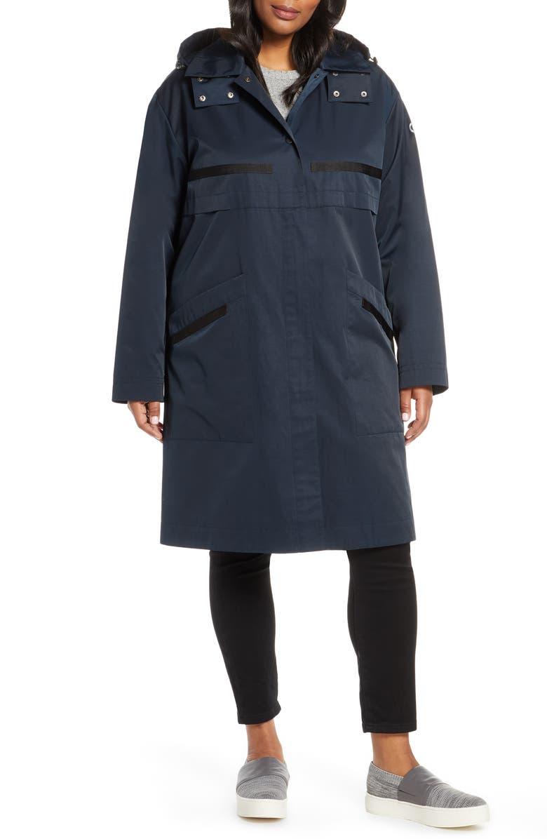 BERNARDO Long Hooded Raincoat, Main, color, DARK NAVY
