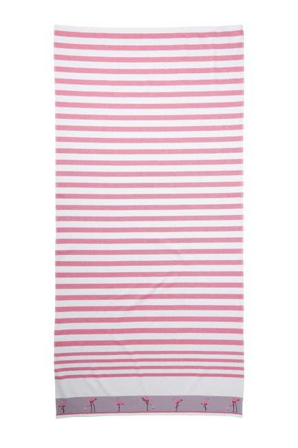 Image of Apollo Towels Vanguard Flamingo Borderline Beach Towel - Pink