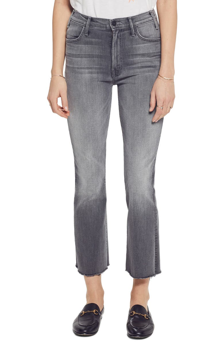 The Hustler High Waist Frayed Ankle Jeans by Mother