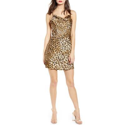 J.o.a. Leopard Print Satin Slipdress, Brown