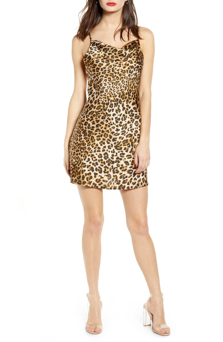 J.O.A. Leopard Print Satin Slipdress, Main, color, LEOPARD
