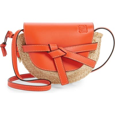 Loewe Gate Mini Leather & Raffia Crossbody Bag -